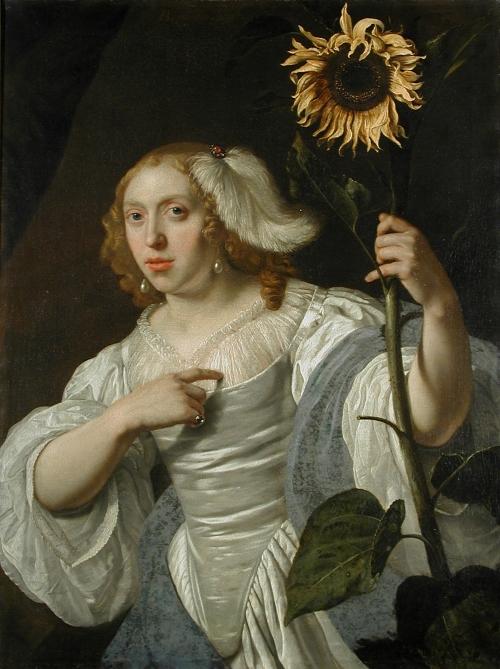 Portret van een vrouw met zonnenbloem, 1670